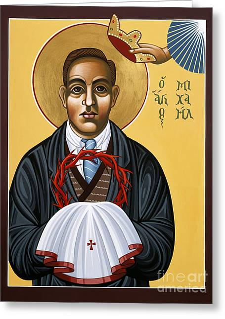 New Martyr Paintings Greeting Cards - Holy New Martyr Padre Miguel Pro 119 Greeting Card by William Hart McNichols