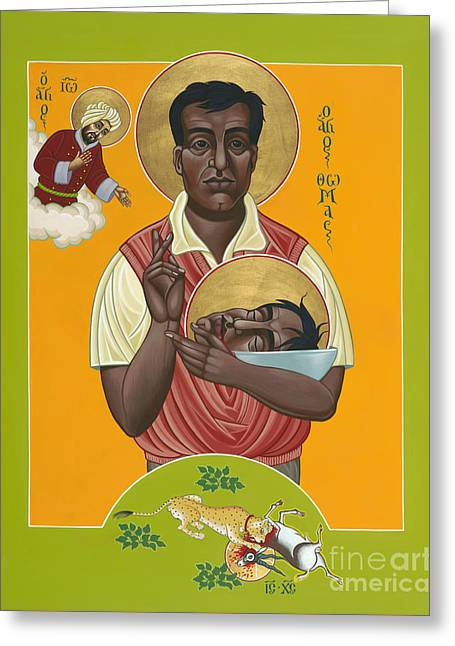 New Martyr Paintings Greeting Cards - Holy New Martyr Thomas Anchanikal With St John de Brito 153 Greeting Card by William Hart McNichols