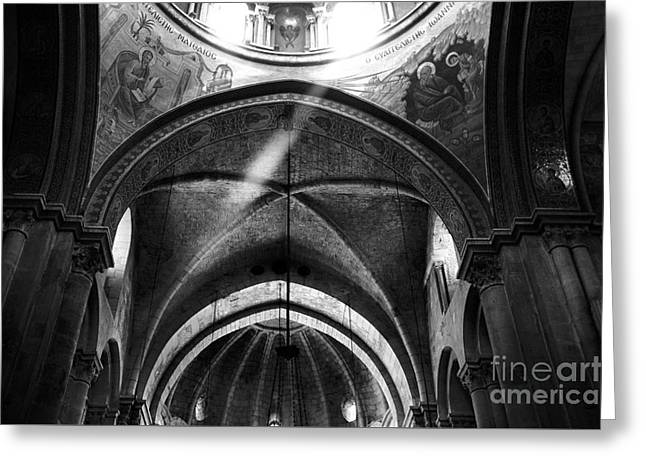 Calvary Greeting Cards - Holy Sepulchre Light Greeting Card by John Rizzuto
