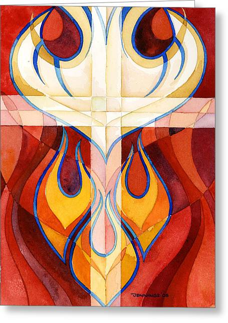Flames Paintings Greeting Cards - Holy Spirit Greeting Card by Mark Jennings