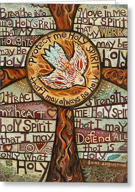 Worshipping Greeting Cards - Holy Spirit Prayer by St. Augustine Greeting Card by Jen Norton