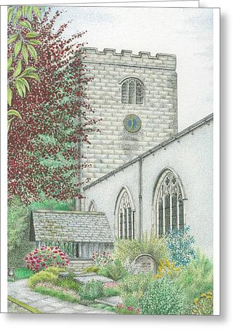 Old Stone Greeting Cards - Holy Trinity Church Clock Bolton le Sands Lancashire Greeting Card by Sandra Moore