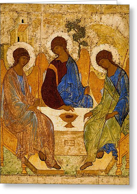 Holy Trinity. Troitsa Greeting Card by Andrei Rublev