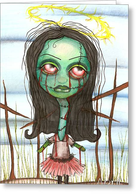 Gothic Horror Greeting Cards - holy Zombie Greeting Card by  Abril Andrade Griffith