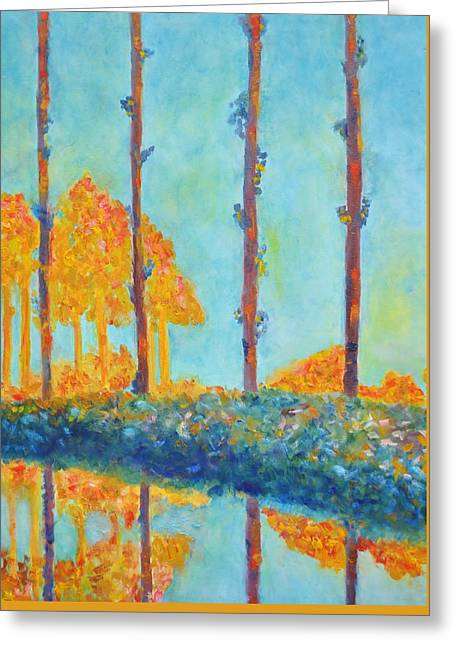 Faa Featured Paintings Greeting Cards - Homage to Claude Monet - Poplars Greeting Card by Marla McPherson