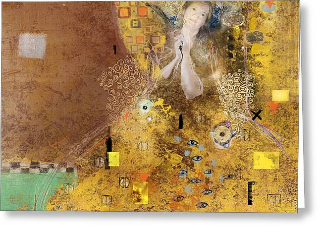 Old Digital Art Greeting Cards - Homage to Gustav Klimt Greeting Card by Dray Van Beeck