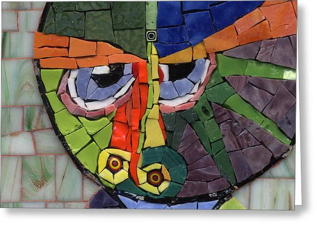 Circle Glass Greeting Cards - Homage to Klee - Fantasy Face No.4 Greeting Card by Gila Rayberg