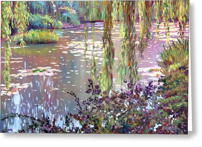Best Selling Paintings Greeting Cards - Homage to Monet Greeting Card by David Lloyd Glover