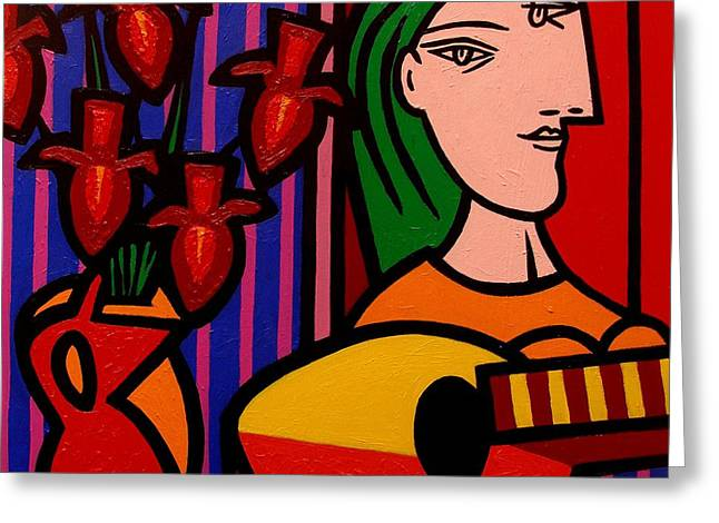 Cubism Greeting Cards - Homage to Picasso Greeting Card by John  Nolan
