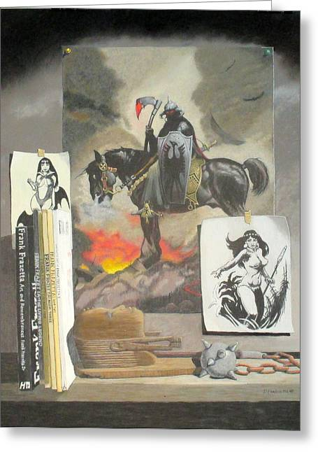 Francis Pastels Greeting Cards - Homage To The Master Frank Frazetta Greeting Card by Dave Francis