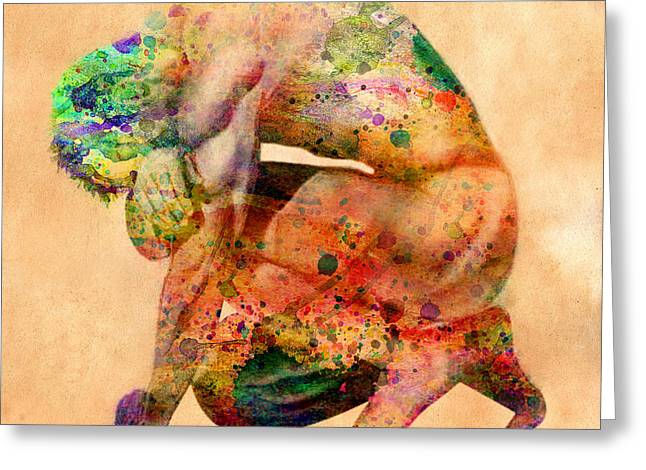 Bodybuilder Digital Greeting Cards - Hombre Triste Greeting Card by Mark Ashkenazi