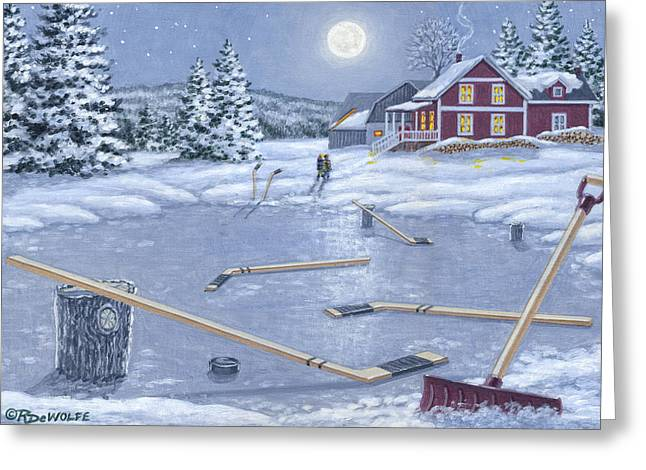 Hockey Paintings Greeting Cards - Home For Supper Greeting Card by Richard De Wolfe