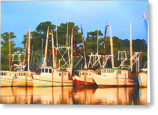 Apalachicola Shrimper Greeting Cards - Home From Work Greeting Card by Jamie Marsh