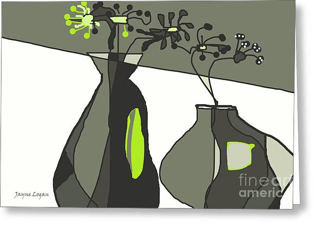 Moss Green Greeting Cards - Home Groove Greens Greeting Card by Jayne Logan Intveld