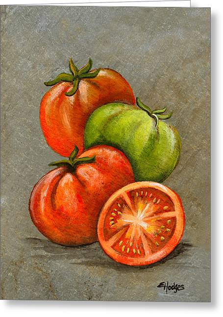 Vegetables Paintings Greeting Cards - Home Grown Tomatoes Greeting Card by Elaine Hodges