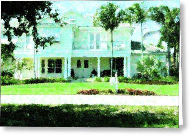 Florida House Mixed Media Greeting Cards - Home In Ft. Myers Greeting Card by Florene Welebny