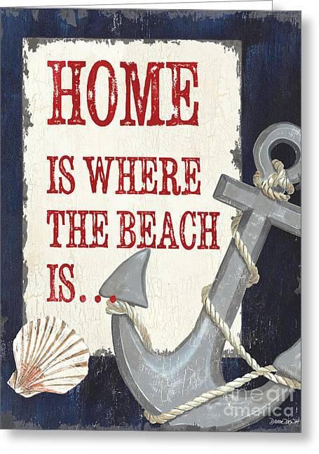Beach House Paintings Greeting Cards - Home is Where the Beach Is Greeting Card by Debbie DeWitt