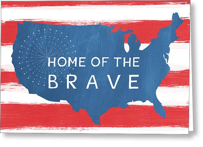 Firework Greeting Cards - Home Of The Brave Greeting Card by Linda Woods