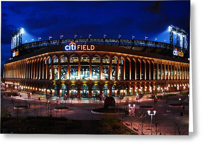 Shea Stadium Greeting Cards - Home of the Mets Greeting Card by James Kirkikis