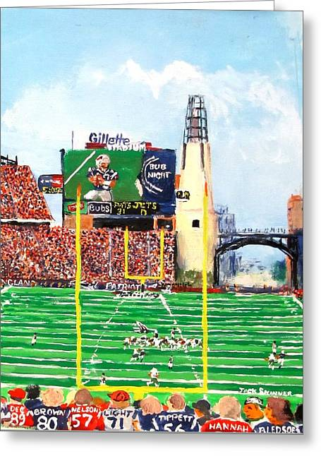 Greeting Cards - Home of the Pats Greeting Card by Jack Skinner