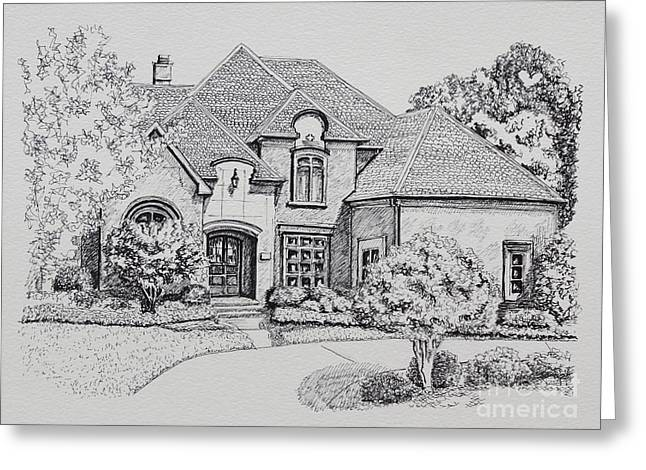 Pen Greeting Cards - Home Portrait 2037 Greeting Card by Robert Yaeger