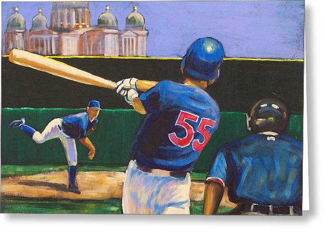 Batter Paintings Greeting Cards - Home Run Greeting Card by Buffalo Bonker