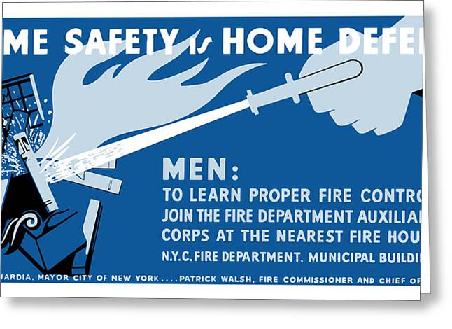 Wpa Greeting Cards - Home Safety Is Home Defense Greeting Card by War Is Hell Store