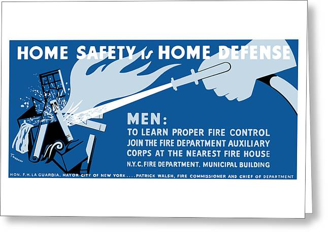 Historic Home Mixed Media Greeting Cards - Home Safety Is Home Defense Greeting Card by War Is Hell Store
