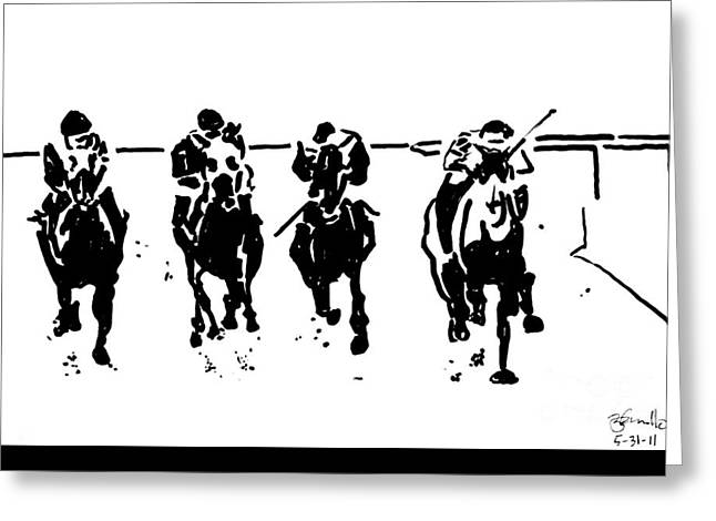 Recently Sold -  - Race Horse Greeting Cards - Home Stretch Greeting Card by Andooga Design