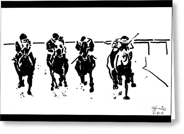 Quarter Horses Drawings Greeting Cards - Home Stretch Greeting Card by Andooga Design