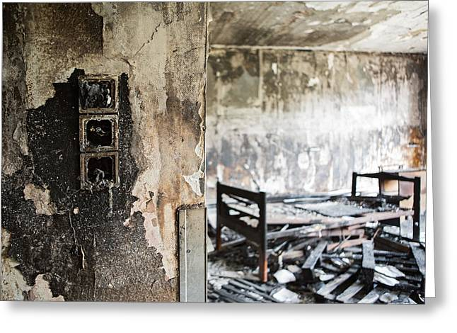 Home Sweet Home Burned Down Room With Bed At Abandoned Nursing H Greeting Card by Dirk Ercken