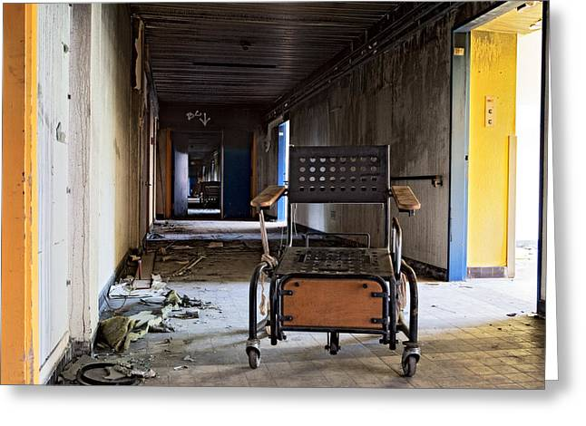 Wheelchair Greeting Cards - Home Sweet Home Forgotten Wheelchair Abandoned Nursing Home  Greeting Card by Dirk Ercken