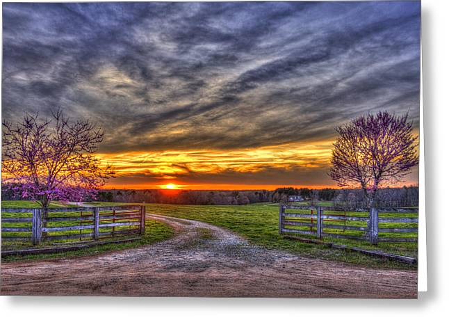Pastureland Greeting Cards - Home Sweet Home Lick Skillet Road Sunset Greeting Card by Reid Callaway