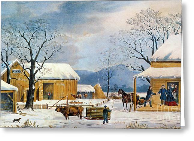 Aodng Greeting Cards - Home To Thanksgiving, 1867 Greeting Card by Granger
