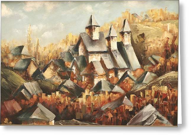 Reds Of Autumn Drawings Greeting Cards - Homeland Greeting Card by Vali Irina Ciobanu