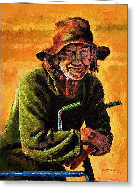 Homeless Man Greeting Cards - Homeless Greeting Card by John Lautermilch