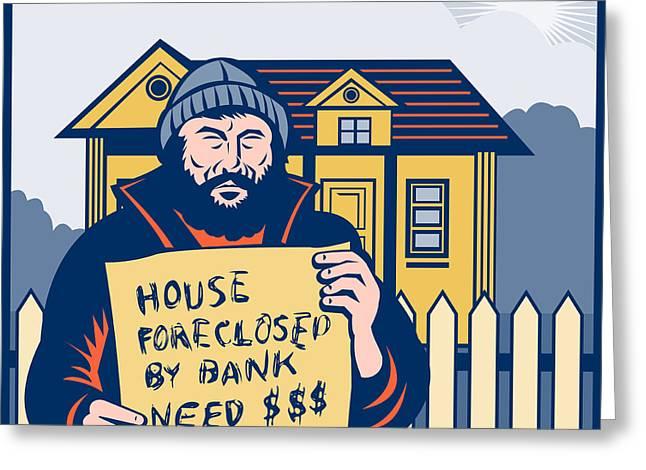 Homeless Man Greeting Card by Aloysius Patrimonio