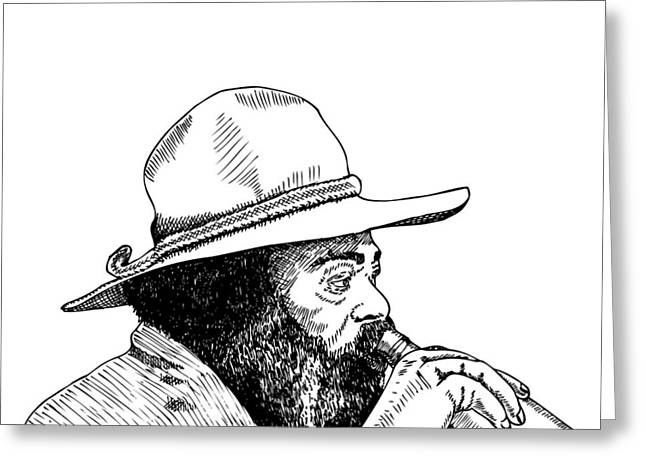 Booze Drawings Greeting Cards - Homeless Man Greeting Card by Karl Addison