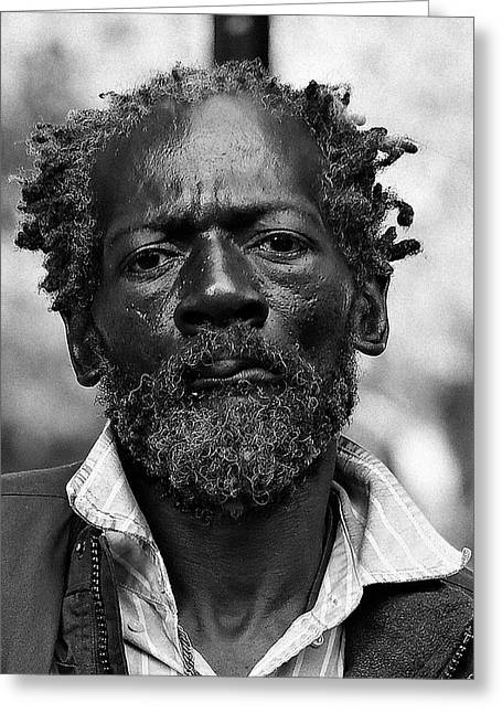 Black Man Greeting Cards - Homeless on His Birthday Greeting Card by Lone  Dakota Photography