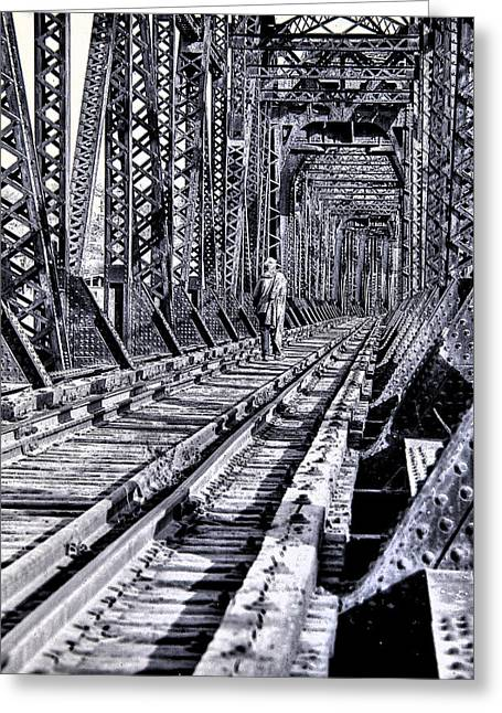 Transient Greeting Cards - Homeless Person on Bridge Greeting Card by Don Wolf