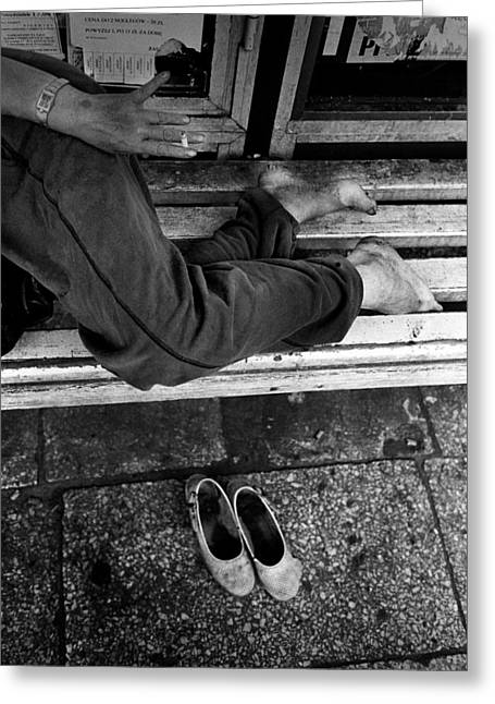 Best Sellers -  - Distraught Greeting Cards - Homeless woman Greeting Card by Jacek Sopotnicki