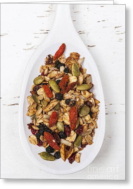 Various Greeting Cards - Homemade granola in spoon Greeting Card by Elena Elisseeva