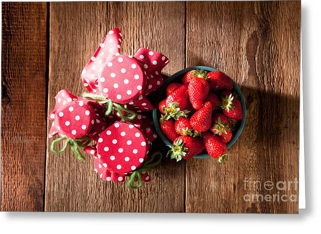 Lifestyle Greeting Cards - Homemade strawberry jam with fresh strawberries Greeting Card by Wolfgang Steiner