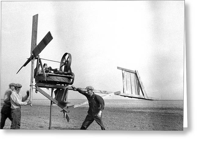 Improvisation Greeting Cards - Homemade Wind Powered Electricity Generator 1920s Greeting Card by Donald  Erickson
