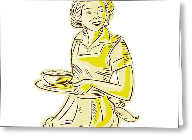 Apron Digital Greeting Cards - Homemaker Serving Bowl of Food Vintage Etching Greeting Card by Aloysius Patrimonio