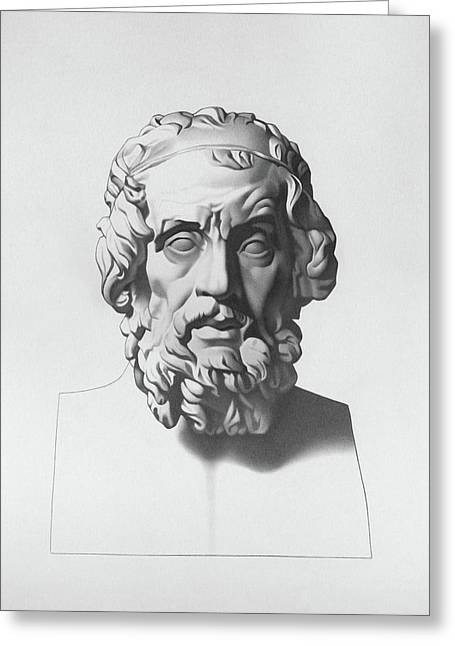 Plato Drawings Greeting Cards - Homer after Charles Bargue Greeting Card by Nicole Daniah Sidonie