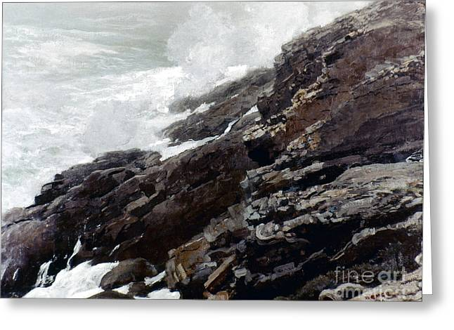 Maine Beach Greeting Cards - Homer: High Cliff, 1894 Greeting Card by Granger