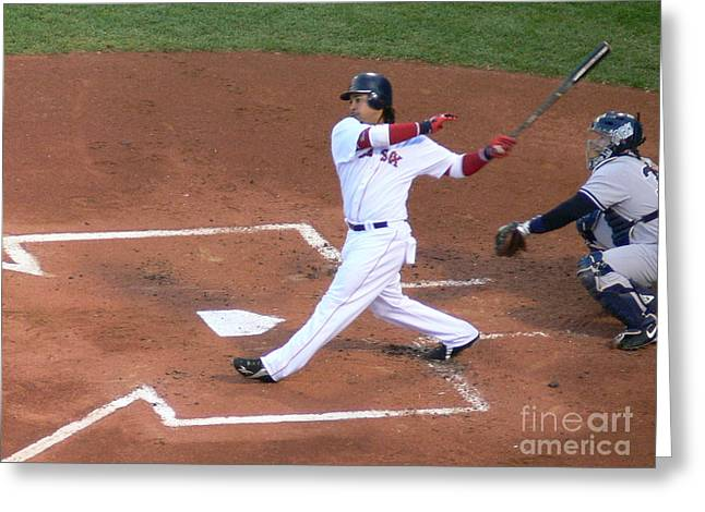 Homerun Swing Greeting Card by Kevin Fortier