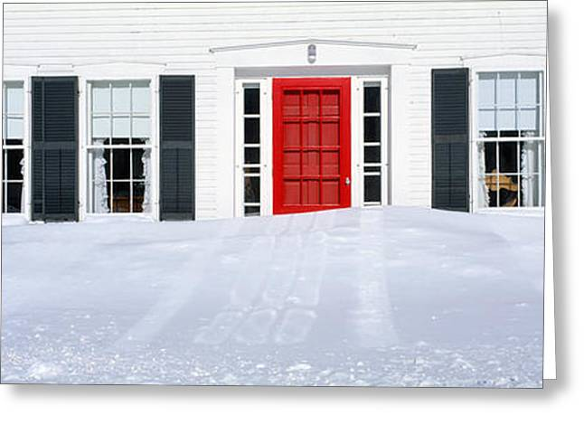 Small Towns Greeting Cards - Homes In Winter Snow, Woodstock, Vermont Greeting Card by Panoramic Images
