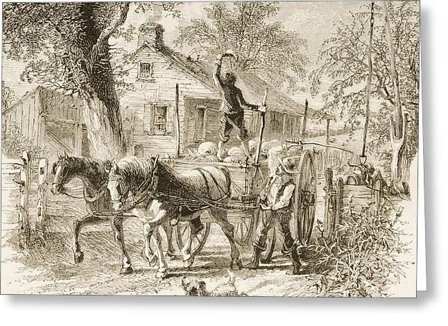 Horse And Cart Drawings Greeting Cards - Homestead In Kansas In 1870s. From Greeting Card by Vintage Design Pics